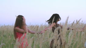 Mooie meisjes die op het gebied lopen - aren in de zonsondergang stock video