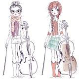 Mooie meisjes met de cello vector illustratie