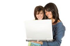 Mooie meisjes met laptop Stock Afbeelding