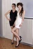 Mooie meisjes in zwart-witte kleding Stock Fotografie