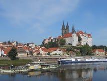 Mooie Meissen op de rivier Elbe, Duitsland stock afbeeldingen