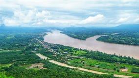 Mooie Mekong Riviermening en de stadsmening van Laos royalty-vrije stock foto's