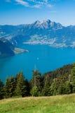 Mooie mening aan het meer en berg Rigi van Luzerne Royalty-vrije Stock Afbeelding