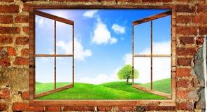 Mooie mening over een venster Royalty-vrije Stock Foto's