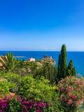 Mooie mening over het overzees en de installaties, Cefalu, Sicilië, Italië royalty-vrije stock afbeeldingen