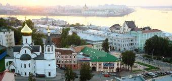 Mooie mening over samenloop twee rivier Oka en Volga Stock Fotografie
