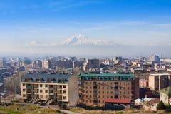 Mooie mening van Berg Ararat en stad Yerevan in de lente, Armenië stock foto's