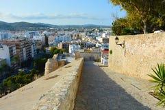 Mooie mening van Dalt Vila, Eivissa, Ibiza-eiland Stock Foto's