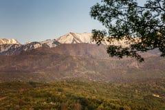 Mooie mening van de bergen en de bossen bij zonsondergang stock foto