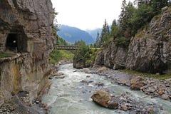 Mooie mening van de beroemde Gletsjerkloof in Grindelwald in de Bernese-Alpen in de zomer, Zwitserland Royalty-vrije Stock Fotografie