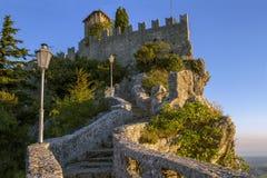 Mooie mening van de Guaita-vesting in de republiek van San Marino Royalty-vrije Stock Fotografie