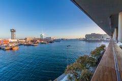 Mooie mening van de haven binnen van de stad van Barcelona Spanje stock afbeeldingen