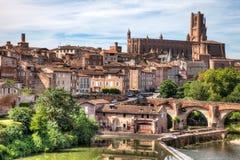 Mooie mening van de kathedraal in Albi Frankrijk stock afbeelding