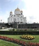 Mooie mening van de kathedraal van redderchristus in Moskou royalty-vrije stock afbeeldingen