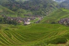 Mooie mening van de Longsheng-Rijstterrassen dichtbij van het Dazhai-dorp in de provincie van Guangxi, in China Stock Afbeelding