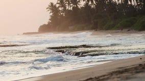 Mooie mening van de oceaangolven in de zonsondergangtijd stock videobeelden