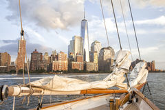 Mooie mening van de Stad van New York met het World Trade Center stock foto