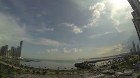 Mooie mening van de Stad van Panama in langzame motie stock footage