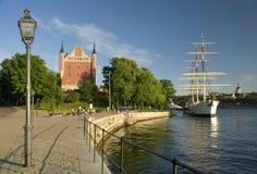 Mooie mening van de zomer Stockholm stock fotografie