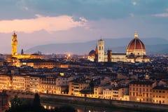Mooie mening van Florence in zonsondergang stock foto