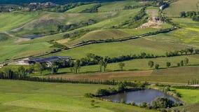 Mooie mening van groene gebieden en weiden bij zonsondergang in Toscanië royalty-vrije stock afbeelding