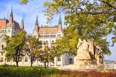 Mooie mening van het standbeeld van Lajos Koshutu met vennoten op de achtergrond van het Hongaarse Parlement in Boedapest, Hongar Royalty-vrije Stock Fotografie