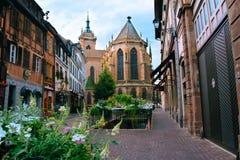 Mooie mening van historische stad van Colmar stock afbeeldingen