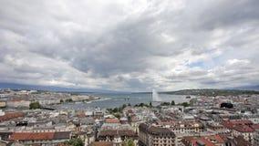 Mooie mening van Meer Genève met fontein stock footage