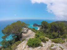 Mooie mening van Middellandse Zee en aard, Ligurië, Italië stock foto