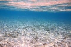 Mooie mening van onderwaterwereld met dode koraalriffen Blauw water en witte zandbodem snorkeling Indische Oceaan royalty-vrije stock afbeelding