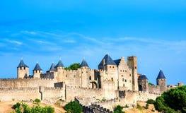 Mooie mening van oude stad van Carcassone, Frankrijk royalty-vrije stock afbeeldingen