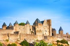 Mooie mening van oude vesting van Carcassone frankrijk Het werd toegevoegd aan de Unesco-lijst van de Plaatsen van de Werelderfen stock foto
