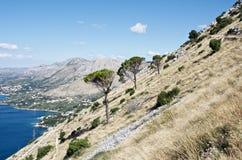 Mooie mening van overzeese kustlijn in Kroatië Royalty-vrije Stock Foto