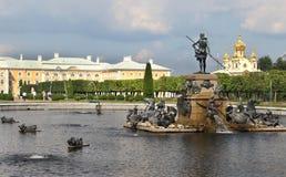 Mooie mening van Petergof Heilige Petersburg stock foto