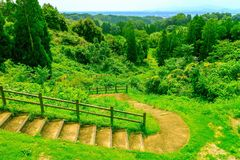 Mooie mening van rond kikuchikasteel in Kumamoto-perfecture, Japan Stock Afbeelding