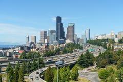 Mooie Mening van Seattle de stad in Stock Afbeeldingen