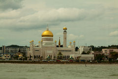 Mooie Mening van Sultan Omar Ali Saifudding Mosque, Bandar Seri Begawan, Brunei stock foto