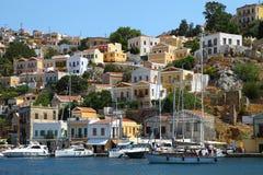 Mooie mening van Symi-eiland in Griekenland Stock Foto