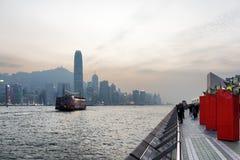 Mooie mening van Victoria-haven in Hong Kong Royalty-vrije Stock Foto