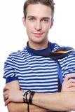 Mooie mens met blauwe ogen Stock Foto's