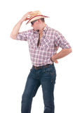 Mooie mens met cowboyhoed Royalty-vrije Stock Foto