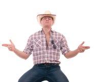 Mooie mens met cowboyhoed Stock Foto