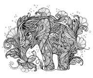 Mooie met de hand geschilderde olifant met bloemenornament Stock Afbeeldingen