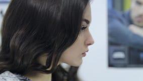 Mooie model de schoonheidsclose-up van het meisjesgezicht stock videobeelden