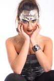 Mooie modelo met vreemde make-up Stock Afbeeldingen