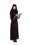 Arabische vrouwentablet Stock Foto