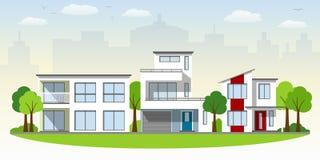 Mooie moderne huizen royalty-vrije illustratie