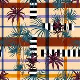 Mooie moderne tropische die plambomen en bladeren met geome worden gemengd royalty-vrije illustratie