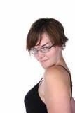 Mooie, modieuze jonge vrouw die over glazen kijken Royalty-vrije Stock Foto