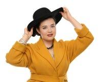 Mooie modieuze te zware vrouw Stock Foto's